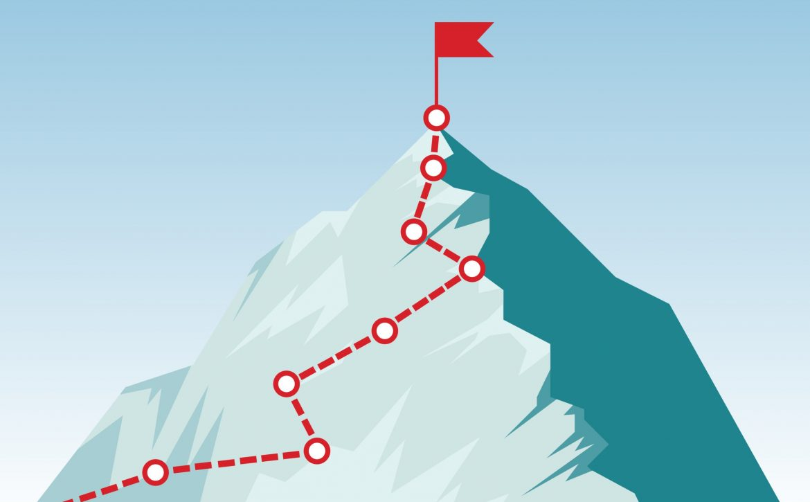 Mountain climbing route to peak in flat style. Concept of Goal, Mission, Vision, Career path. Business journey path in progress to success vector illustration. Mountain peak, climbing route.